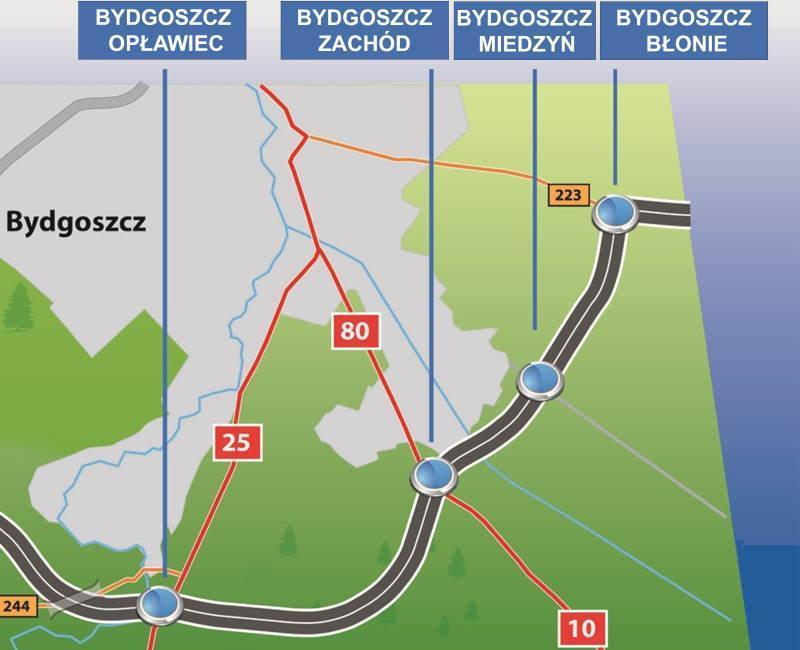 Mapa obwodnicy Bydgoszczy na odcinku drogi S5 Białe Błota - Tryszczyn