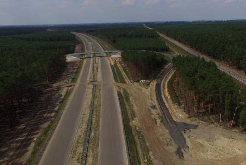 Nowy wiadukt na S5 Radomicko – Kaczkowo, cały odcinek jesienią