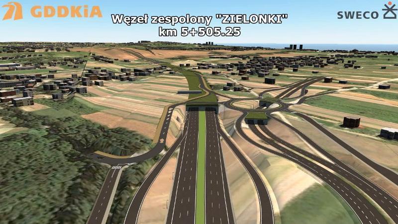 Węzeł Zielonki w ciągu drogi ekspresowej S52 na północnej obwodnicy Krakowa