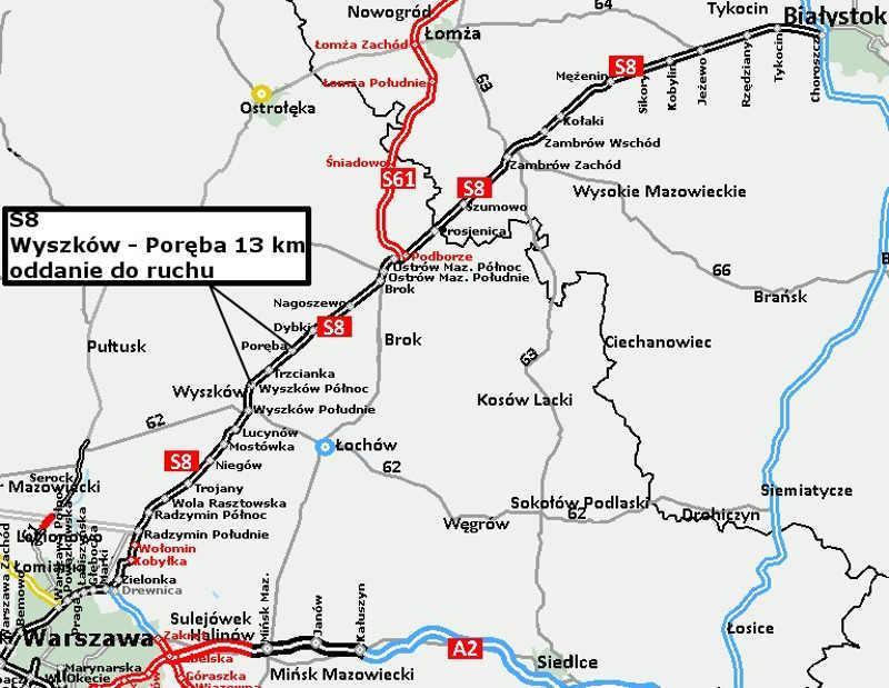Mapa przebiegu drogi ekspresowej S8 Warszawa - Białystok, będącej częścią trasy via Baltica