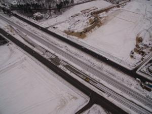 Zima na budowie Południowej Obwodnicy Warszawy - droga ekspresowa S2 Puławska - Lubelska