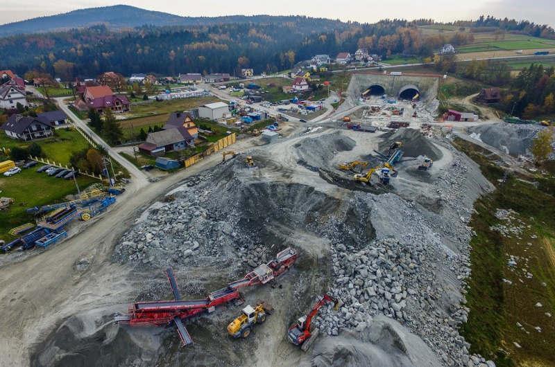 Prace na budowie Zakopianki - drogi ekspresowej S7