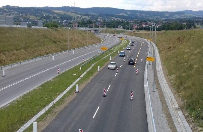 Nowa organizacja ruchu na Zakopiance - drodze ekspresowej S7 Skomielna Biała - Rabka Zdrój