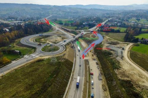 Zakopianka: Jedziemy łącznicą S7 na węźle Zabornia