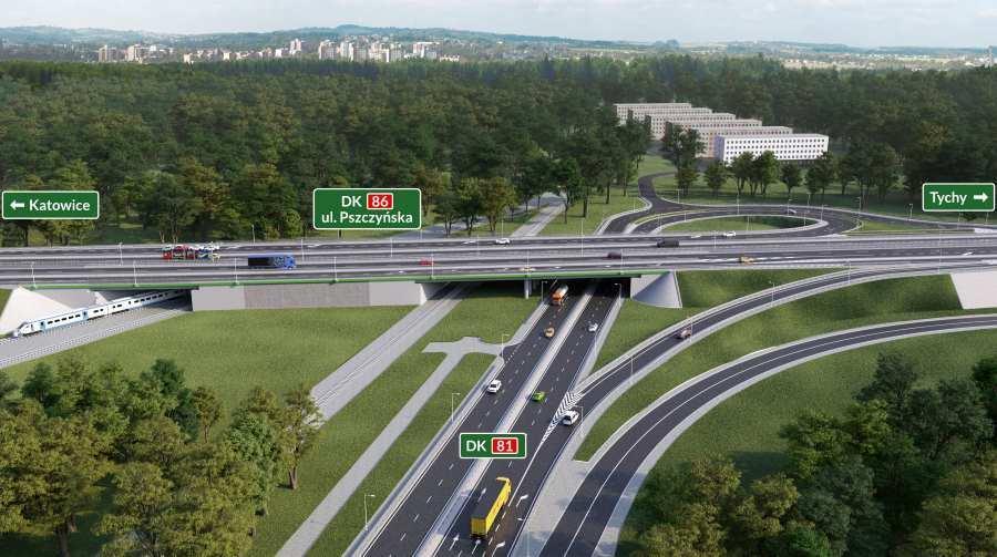 Przebudowa dróg krajowych DK81 i 86 w Katowicach