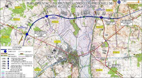 Mapa przebiegu obwodnicy Łomży w ciągu drogi ekspresowej S61