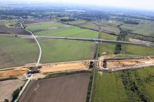Budowa drogi ekspresowej S8 Wrocław - Oleśnica z lotu ptaka