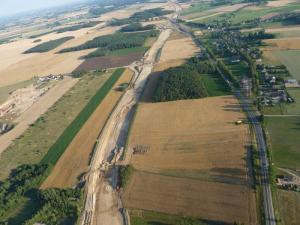 Budowa drogi S7 Nidzica - Napierki - zobacz zdjęcia lotnicze