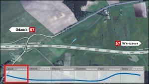 Przebieg drogi ekspresowej S7 - Obwodnicy Nidzicy - wizualizacje