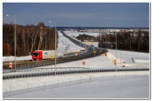Droga ekspresowa S3 w zimowej scenerii