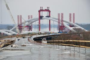Nowy most na DK1 przez Wisłę w Toruniu - budowa, początek 2013 r.