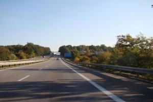 Jedziemy przebudowaną jezdnią A6 w rejonie węzła Szczecin Dąbie
