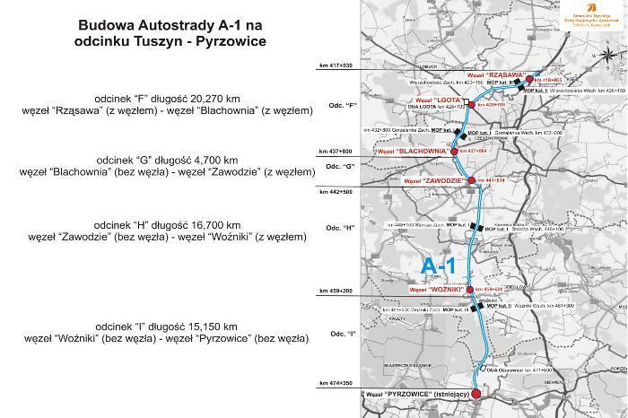 Mapa budowanej autostrady A1 Częstochowa Północ - Pyrzowice