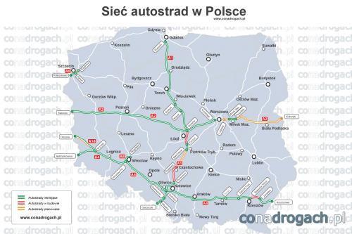Mapa Autostrad W Polsce Mapy I Plany Conadrogach Pl