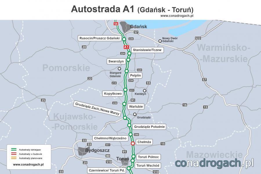 Mapa przebiegu autostrady A1 Gdańsk - Toruń