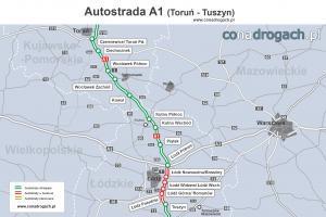 Mapa autostrady A1 Toruń - Łódź - Tuszyn