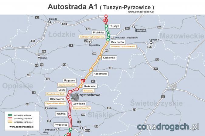 Do 2022 r. ma powstać odcinek autostrady A1 Tuszyn – Częstochowa
