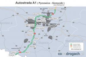 Mapa autostrady A1 Pyrzowice - Gliwice - Gorzyczki (granica z Czechami)
