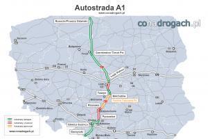 Mapa autostrady A1 w Polsce (Gdańsk-Toruń-Łódź-Gliwice-Gorzyczki)