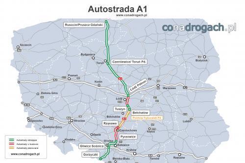 Mapa Autostrady A1 W Polsce Gdansk Torun Lodz Gliwice Gorzyczki