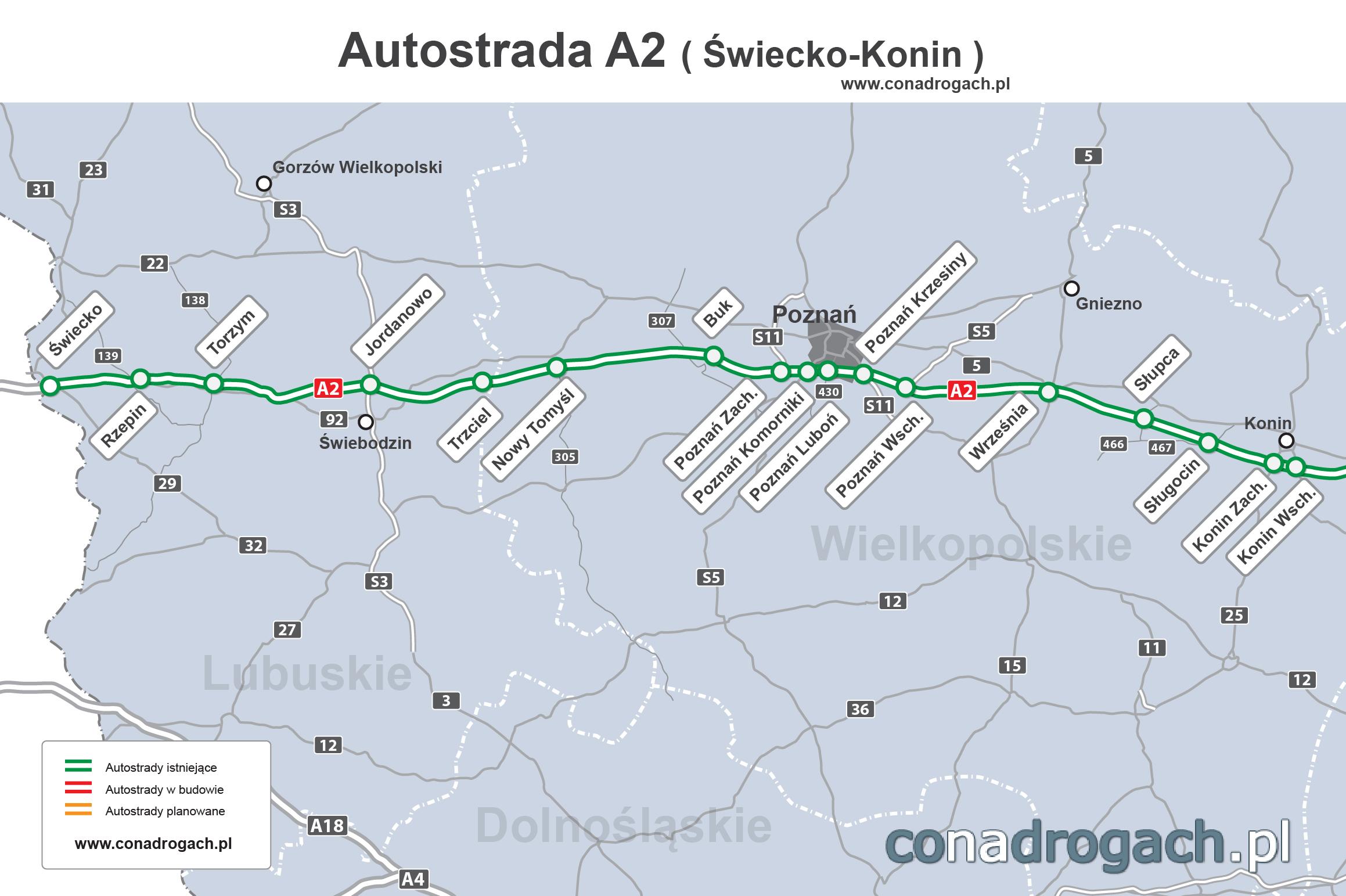 a2 mapa Mapa autostrady A2 Świecko (granica z Niemcami) Nowy Tomyśl  a2 mapa