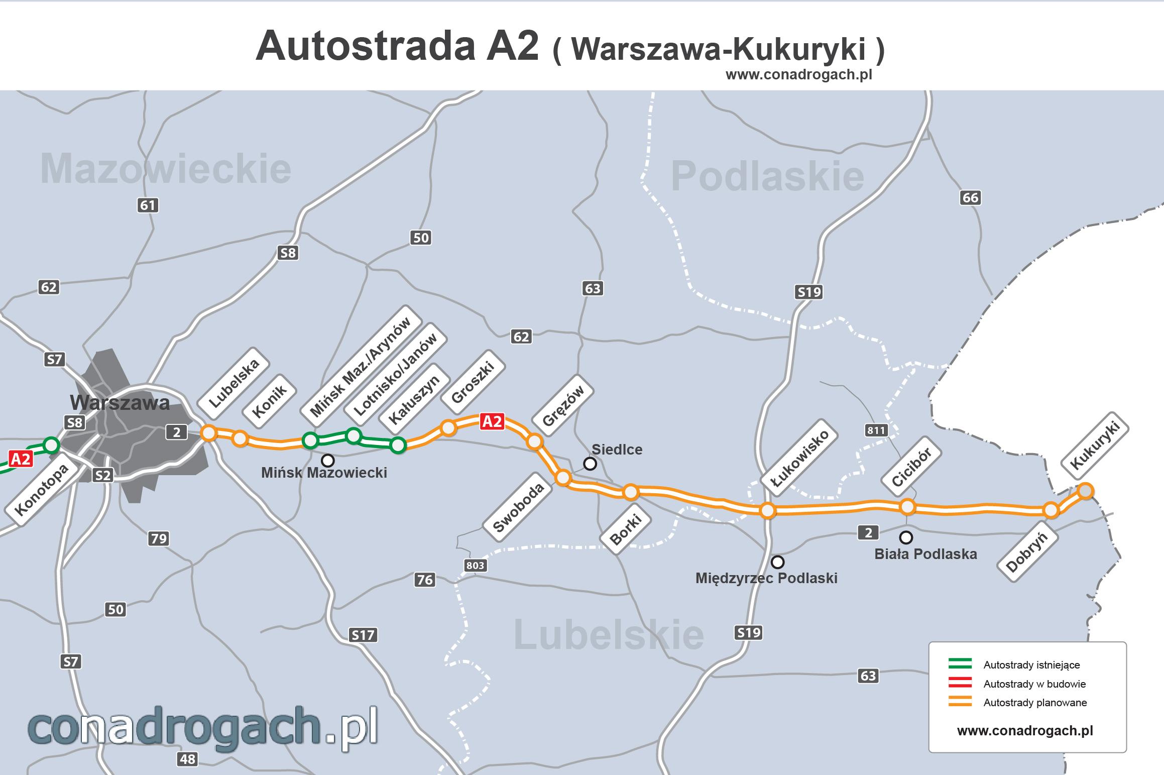 a2 mapa Przebieg autostrady A2 Warszawa   Mińsk Mazowiecki   Siedlce  a2 mapa