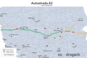 Mapa przebiegu autostrady A2 w Polsce Świecko-Poznań-Łódź-Warszawa-Kukuryki