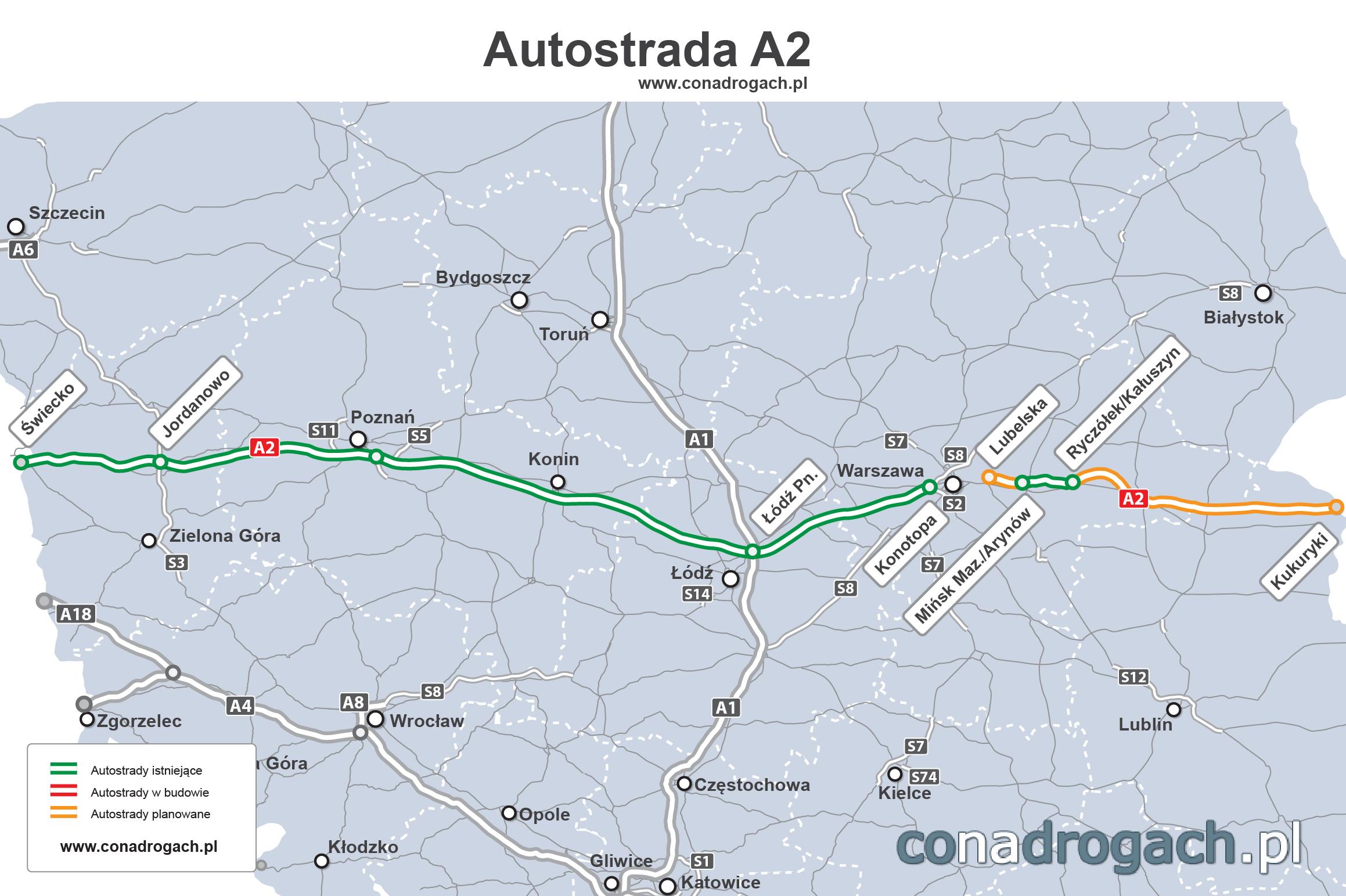 a2 mapa Mapa przebiegu autostrady A2 w Polsce Świecko Poznań Łódź Warszawa  a2 mapa