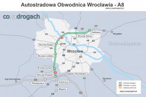 Mapa przebiegu autostrady A8 - Autostradowej Obwodnicy Wrocławia