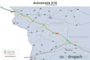 Mapa przebiegu autostrady A18 Krzyżowa - Olszyna (granica z Niemcami)