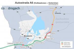 Mapa przebiegu autostrady A6 Kołbaskowo - Szczecin - Goleniów