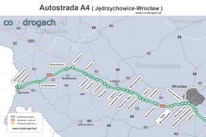 Mapa przebiegu autostrady A4 Jędrzychowice (granica z Niemcami)-Legnica-Wrocław