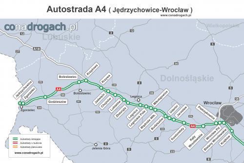 Mapa Przebiegu Autostrady A4 Jedrzychowice Granica Z Niemcami