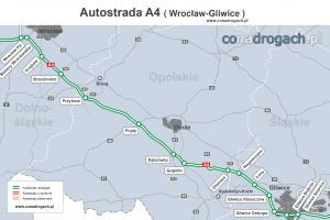 Mapa przebiegu autostrady A4 Wrocław - Gliwice