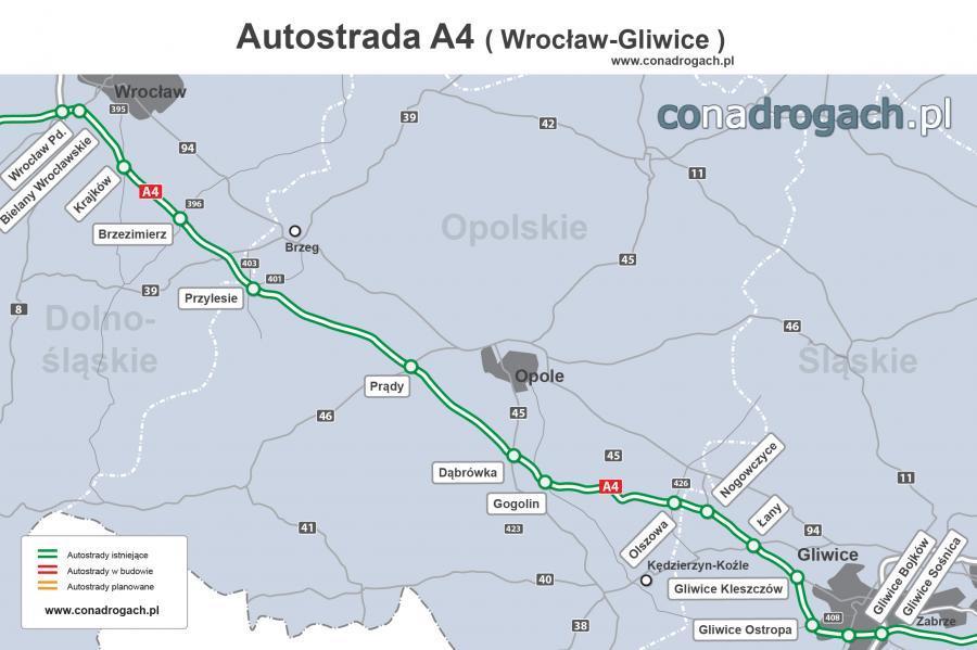 Mapa autostrady A4 Wrocław Gliwice Sośnica
