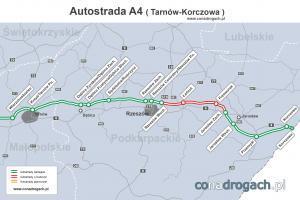 Mapa przebiegu autostrady A4 Tarnów - Rzeszów - Jarosław - Korczowa (wschodnia granica)