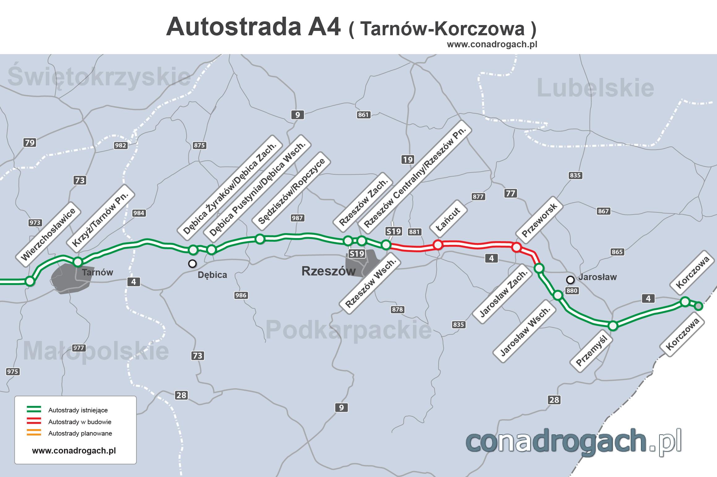 Mapa Przebiegu Autostrady A4 Tarnow Rzeszow Jaroslaw