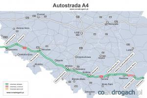 Mapa przebiegu autostrady A4 w Polsce Jęrzychowice-Wrocław-Katowice-Rzeszów-Korczowa