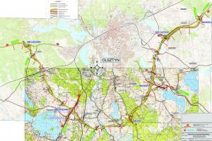 Południowa obwodnica Olsztyna w ciągu dróg: ekspresowej S51 i krajowej DK16 - mapa przebiegu