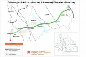 Mapa drogi ekspresowej S2 wraz z przebiegiem obwodnicy Warszawy