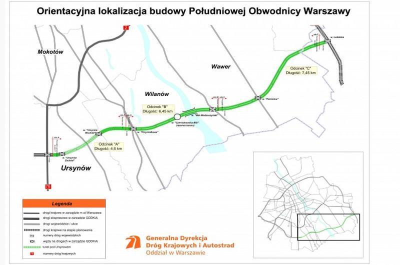 Przebieg odcinka drogi ekspresowej S2 Puławska - Lubelska