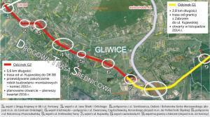 Drogowa Trasa Srednicowa w Gliwicach (połączenie z DK88) - mapa przebiegu