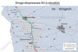 Droga ekspresowa S3 w woj. lubuskim - mapa przebiegu