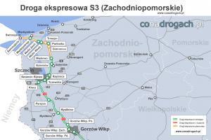 Droga ekspresowa S3 w woj. zachodniopomorskim - mapa przebiegu