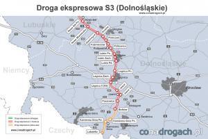 Droga ekspresowa S3 w woj. dolnośląskim - mapa przebiegu