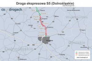 Mapa przebiegu drogi ekspresowej S5 w województwie dolnośląskim