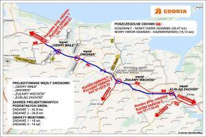 Mapa przebiegu drogi ekspresowej S7 na trasie Gdańsk - Elbląg