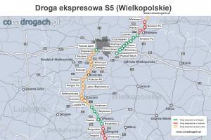 Droga ekspresowa S5 w województwie wielkopolskim - mapa przebiegu