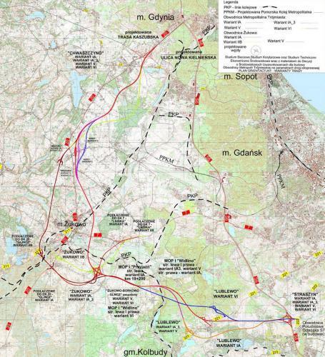 Mapa przebiegu Obwodnicy Aglomeracji Trójmiasta