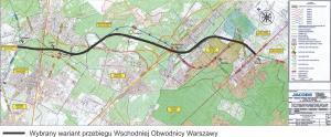 Mapa przebiegu Wschodniej Obwodnicy Warszawy - droga ekspresowa S17 na odc. Drewnica - Zakręt